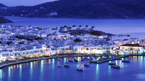 Вид на Грецию ночью