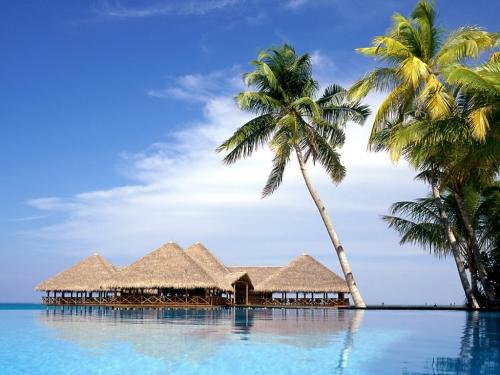 Красивый вид на Мальдивах