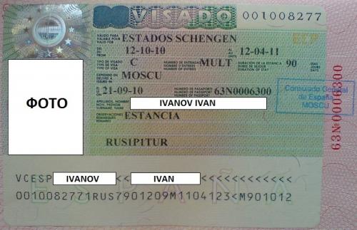 Документ для посещения Испании