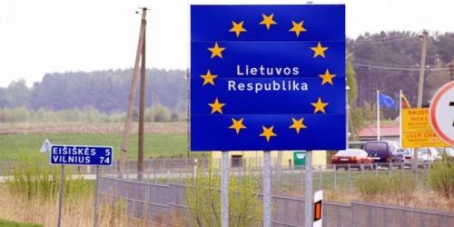 Указатель на въезде в Литву