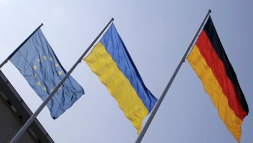Флаги Шенгенского соглашения, Украины и Германии