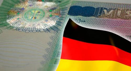 Немецкий флаг на фоне визы