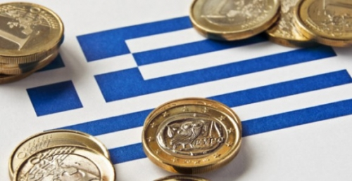Греческий флаг и монеты