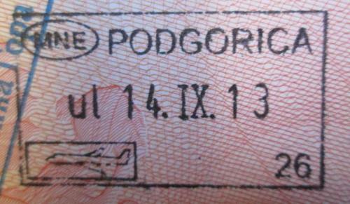 Отметка о посещении Черногории