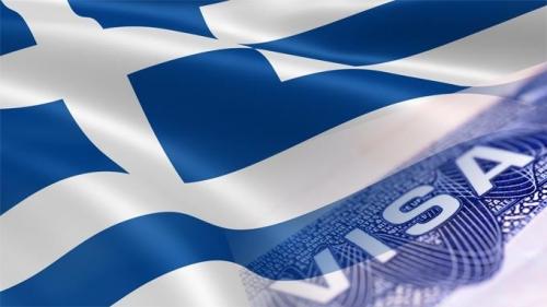 Греческий флаг и виза