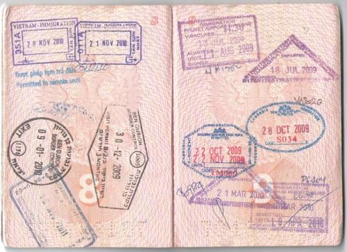 Загранпаспорт с печатями