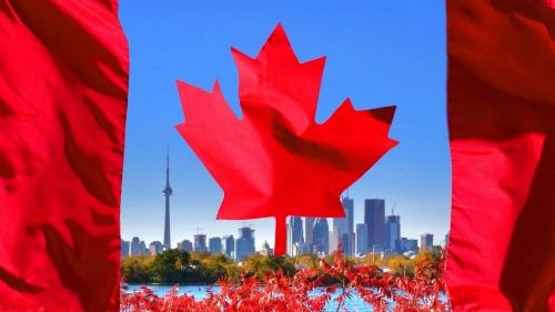 Флаг Канады и пейзаж