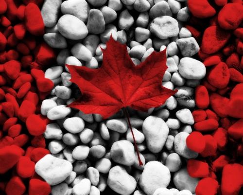 Канадский флаг из камней