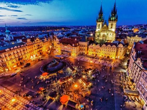 Вечерний город в Чехии