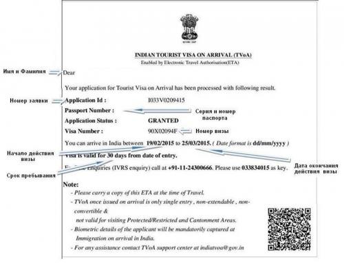 Пример визы в Индию