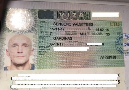 Литовская виза в паспорте