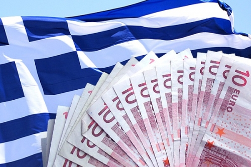 Флаг Греции и евро