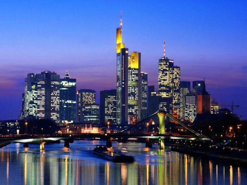 Вид на город Франкфурт в Германии